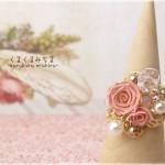 ビーズきらきら春色指輪